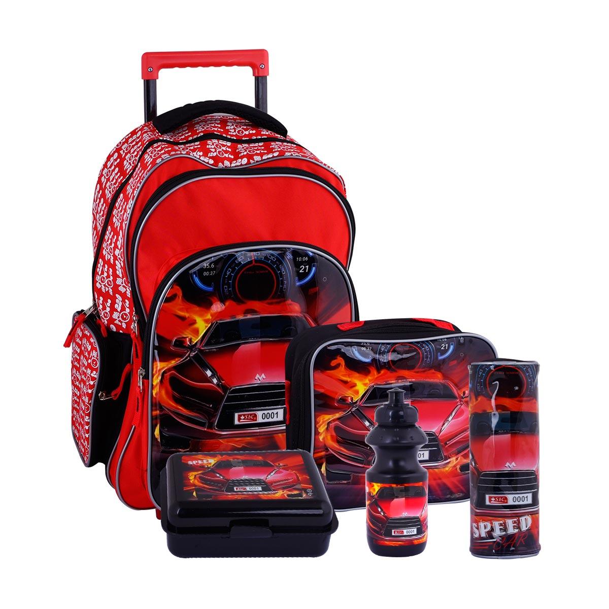 طقم حقيبة ظهر مدرسية بعجلات وملحقاتها 5*1 - رقم 4757-007