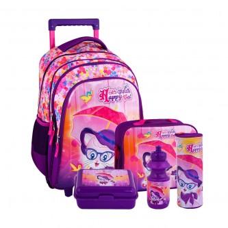 طقم حقيبة ظهر مدرسية هابي كات بعجلات وملحقاتها 5*1 - رقم 4757-010