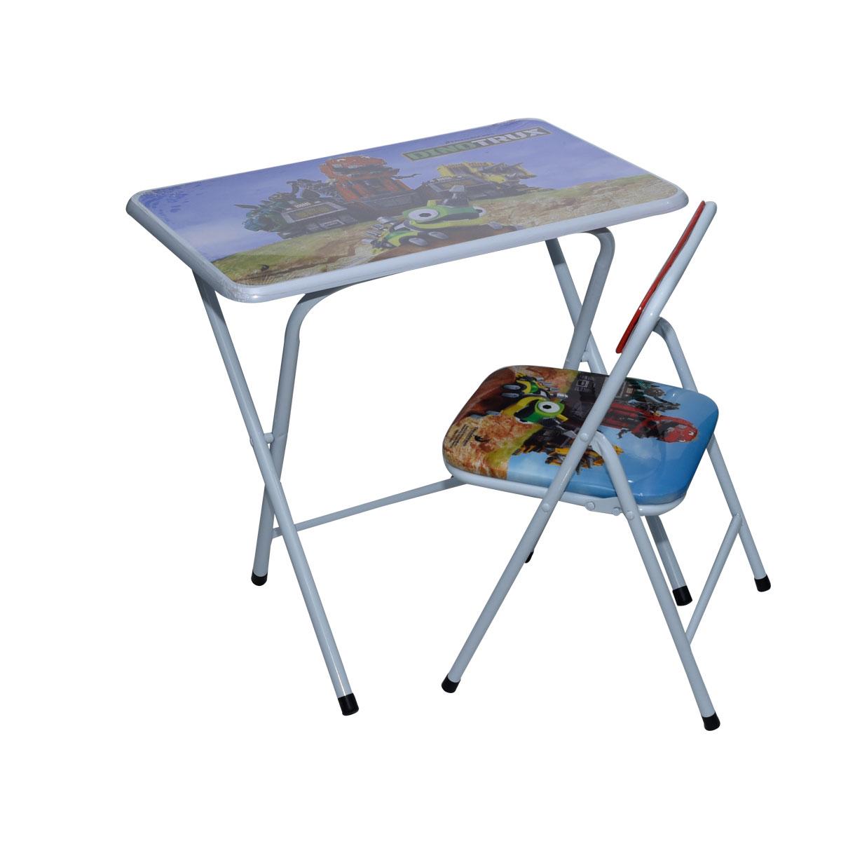 طاولة اطفال مدرسية دينو تركس خشب بقواعد من الحديد + كرسي