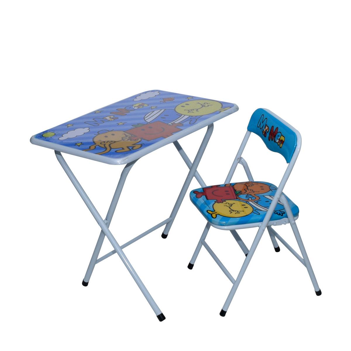 طاولة اطفال مدرسية مستر من خشب بقواعد من الحديد + كرسي
