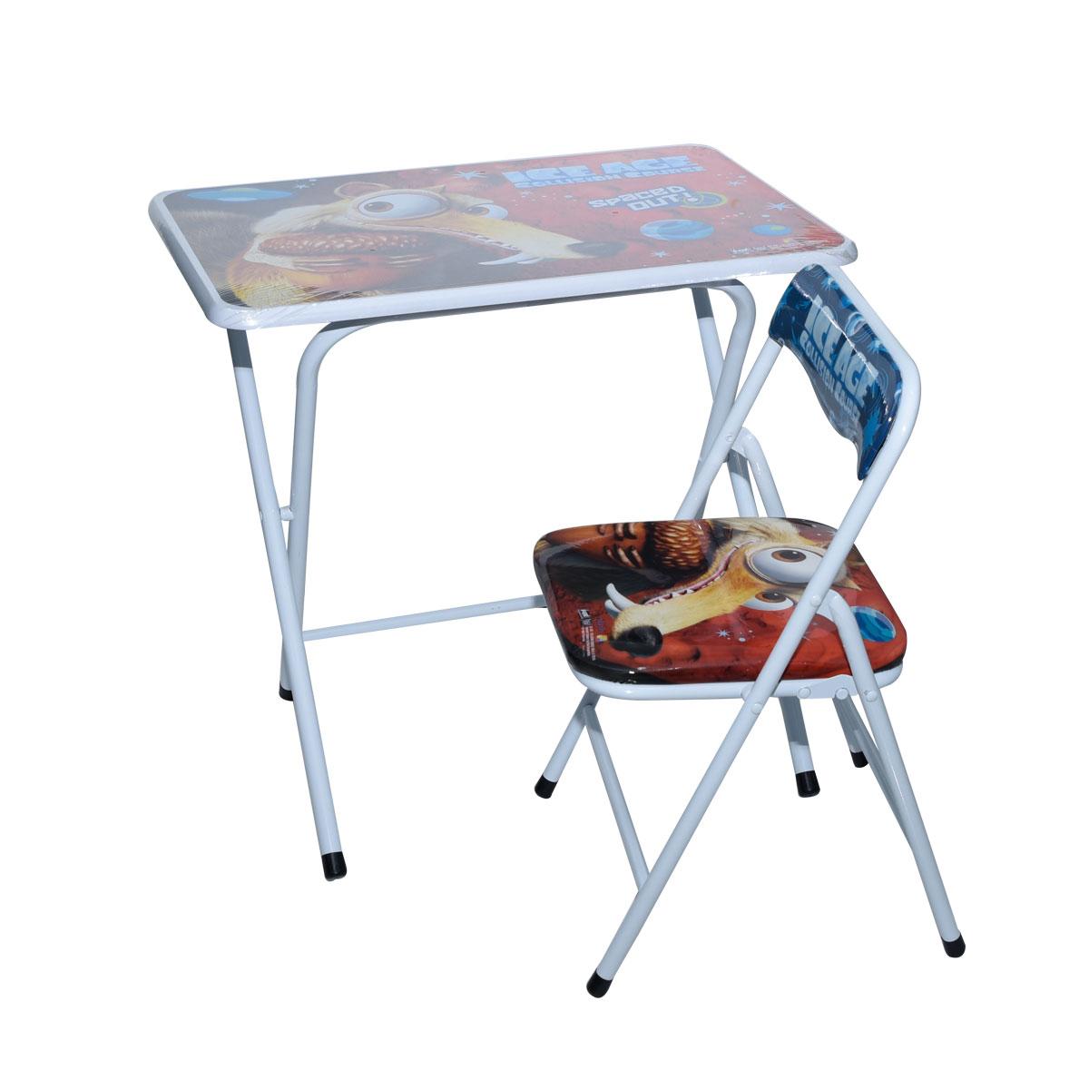 طاولة اطفال مدرسية ICE AGEخشب بقواعد من الحديد + كرسي