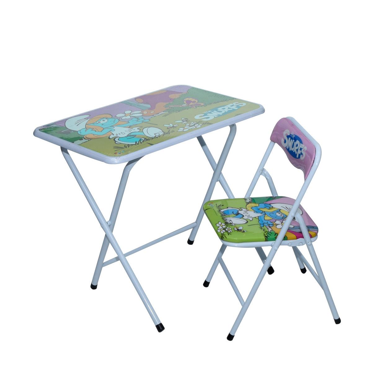طاولة اطفال مدرسية- السنافر وردي خشب بقواعد من الحديد + كرسي