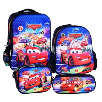 حقيبة ظهر مدرسية مع مقلمة وشنطة طعام - رقم 3770