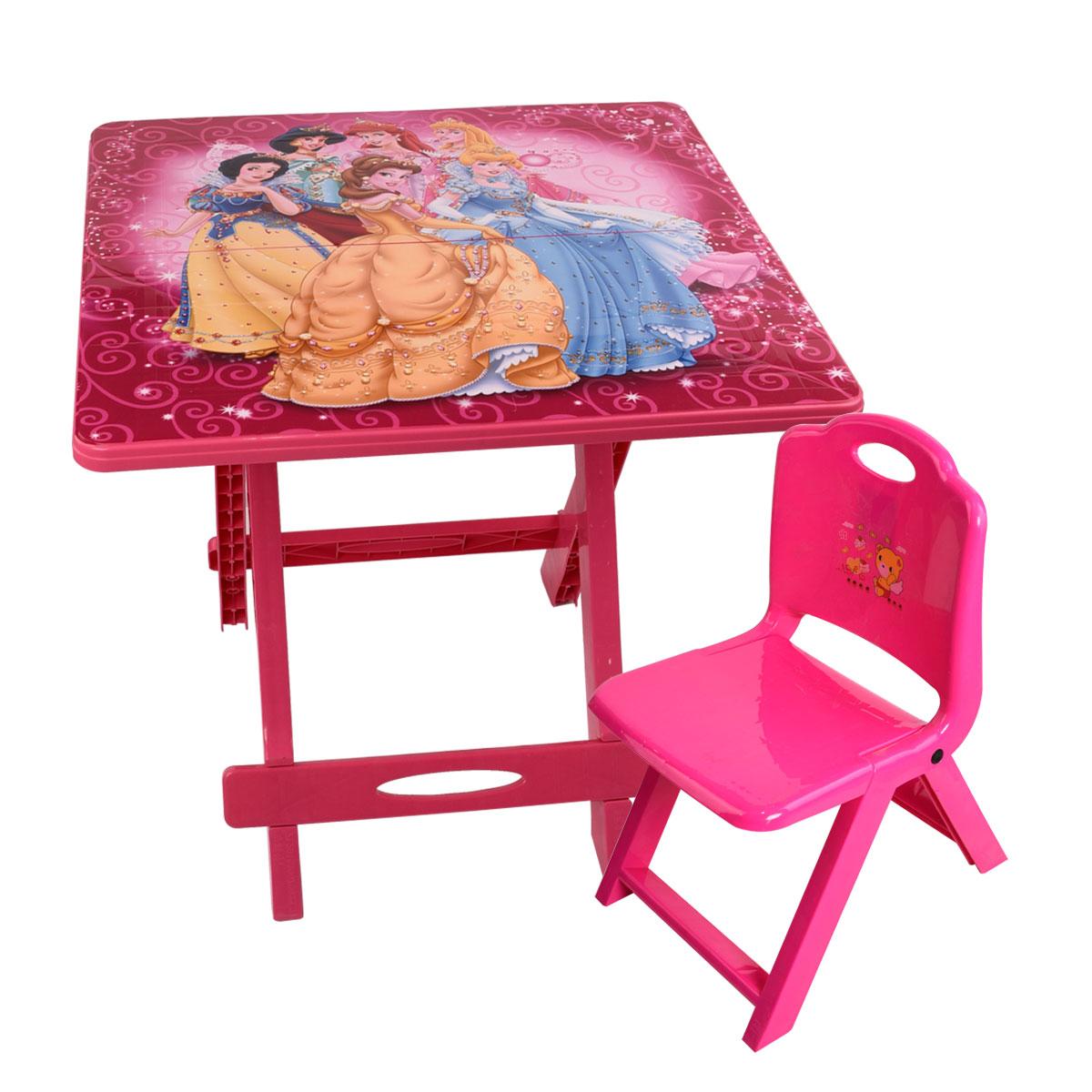طاولة اطفال مدرسية بلاستيكية شخصيات متعددة قابلة للطي مع الكرسي
