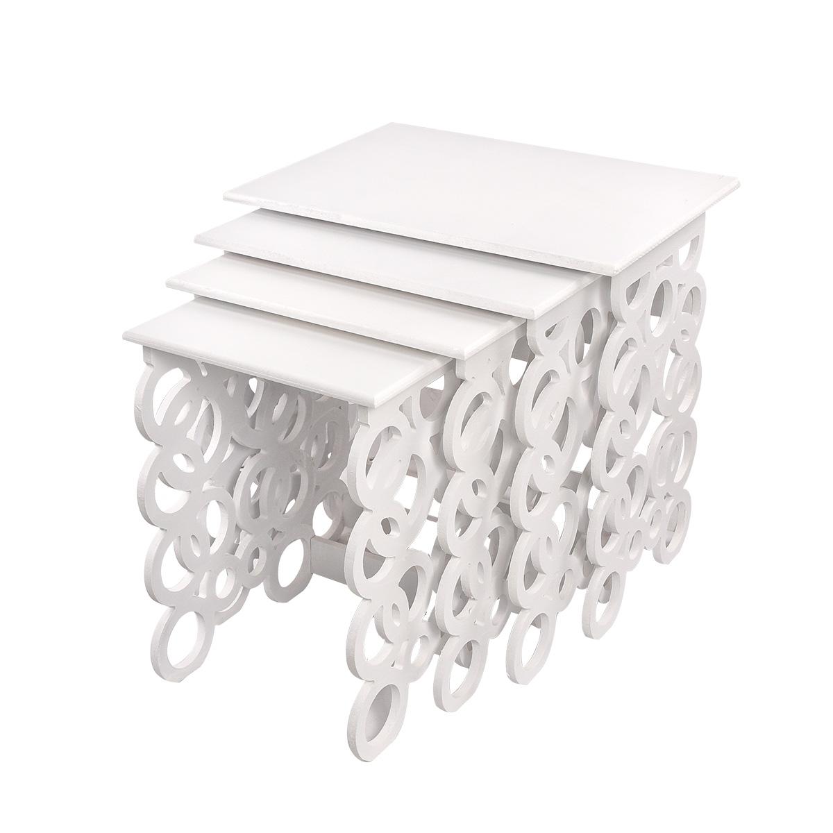 طاولة تقديم وخدمة خشب 4 قطع مزخرف اشكال متعدده   - لون ابيض