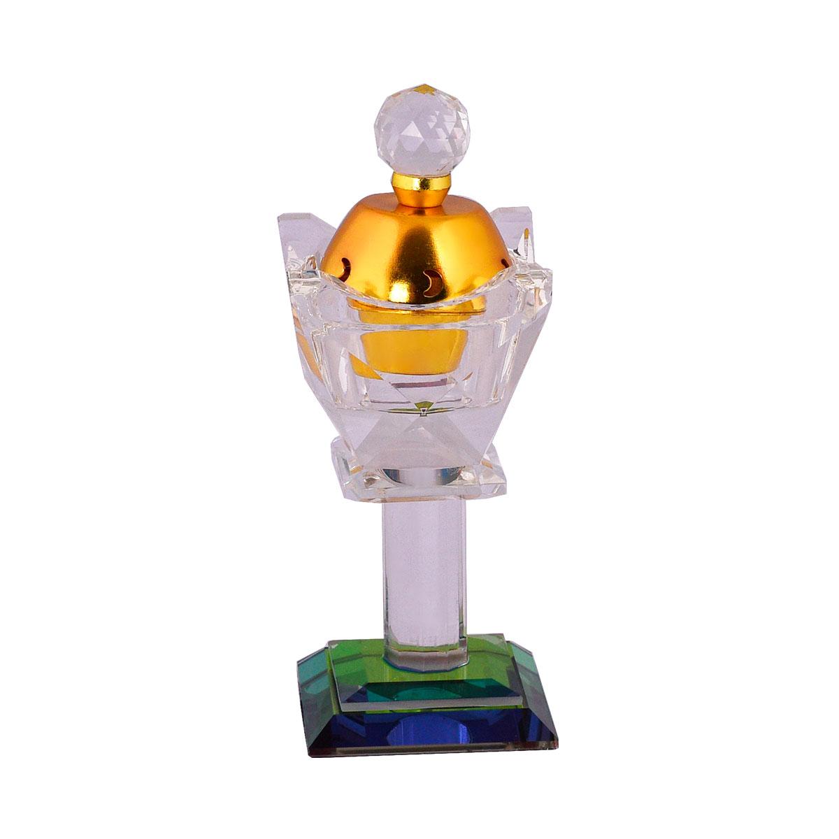 مبخرة كريستال يدوية بغطاء ذهبي وقاعدة ملونة رقم 18507