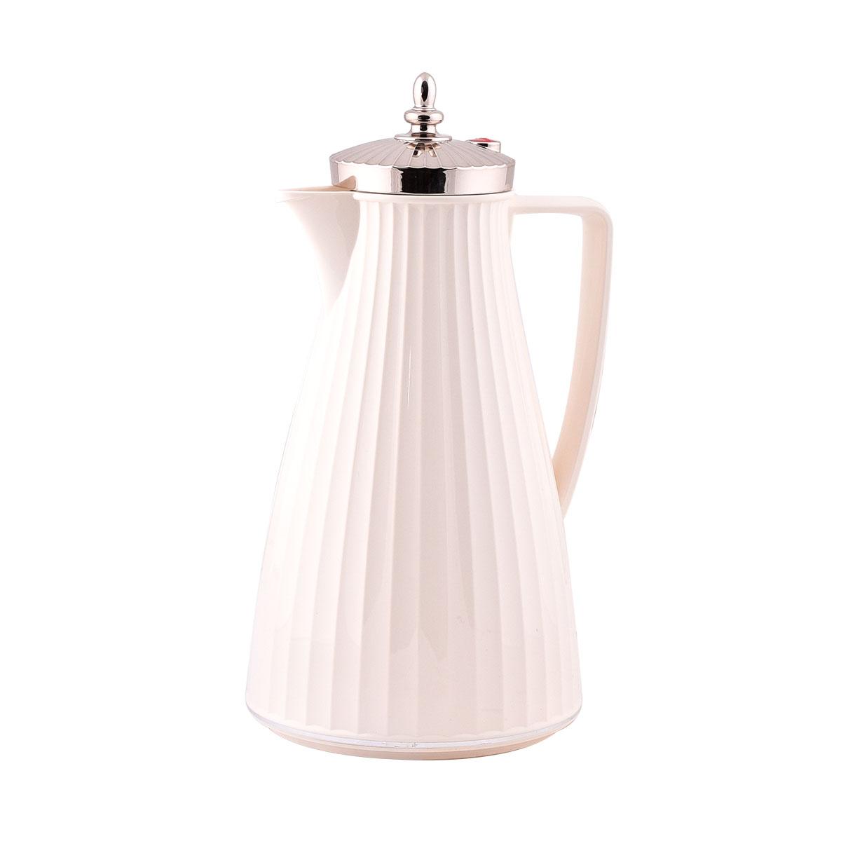 ترمس شاي وقهوة فلورا السيف لون بيج بغطاء فضي - 1 لتر  -IWN