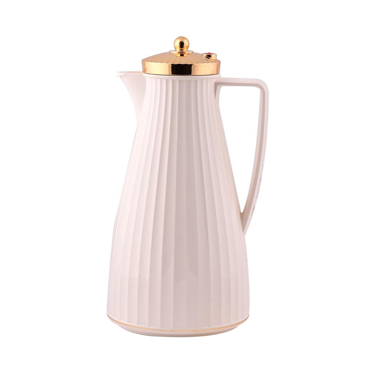 ترمس شاي وقهوة فلورا السيف لون بيج بغطاء ذهبي - 1.2لتر  - IWG