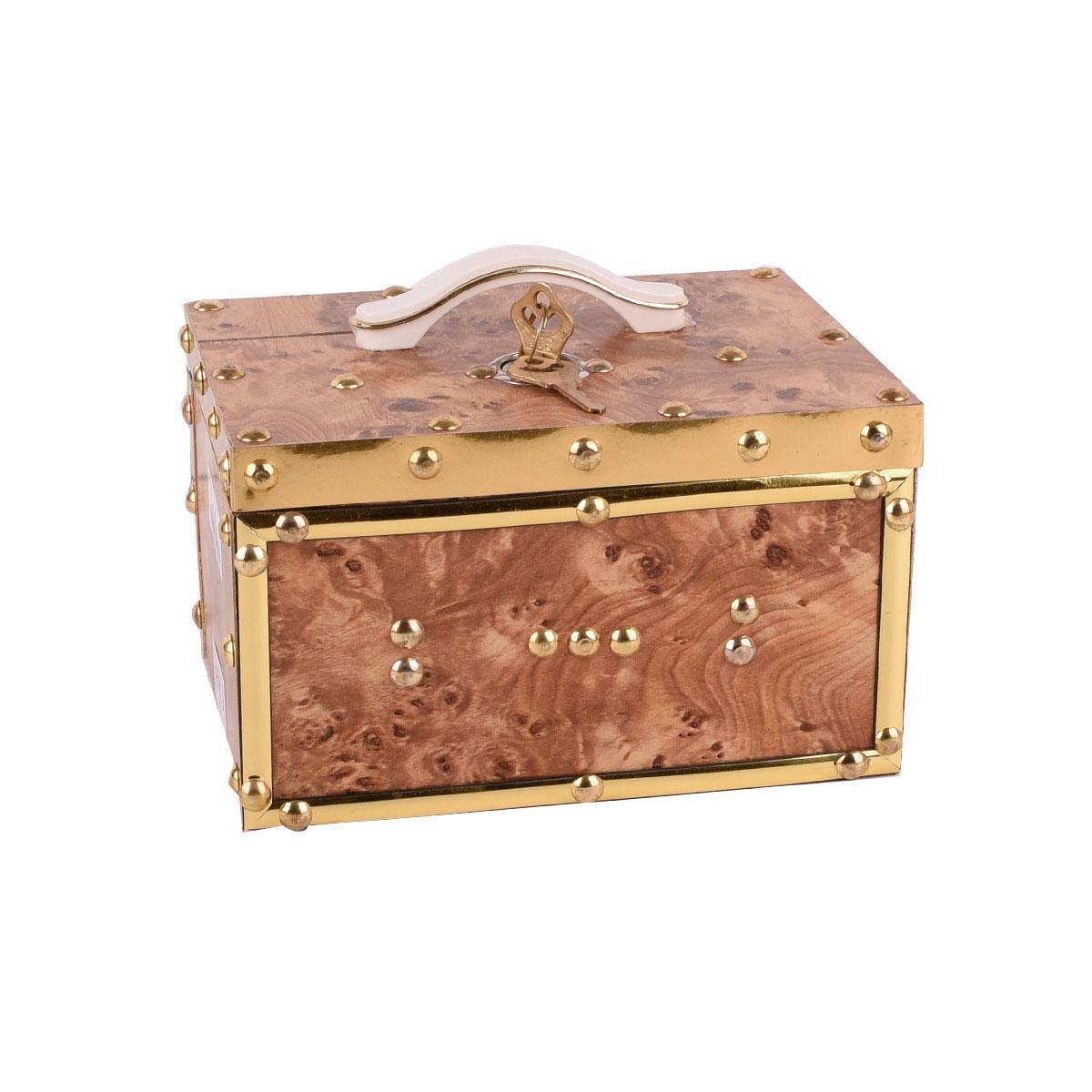 حصالة نقود خشبية مع قفل - الوان واشكال متعدده - موديل HR0214