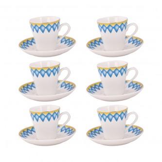 طقم فناجين قهوه عربي تراثي ازرق - 12 قطعه - رقم  3366
