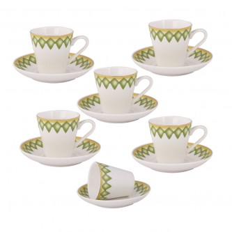 طقم فناجين قهوه عربي تراثي اخضر - 12 قطعه - رقم  3367