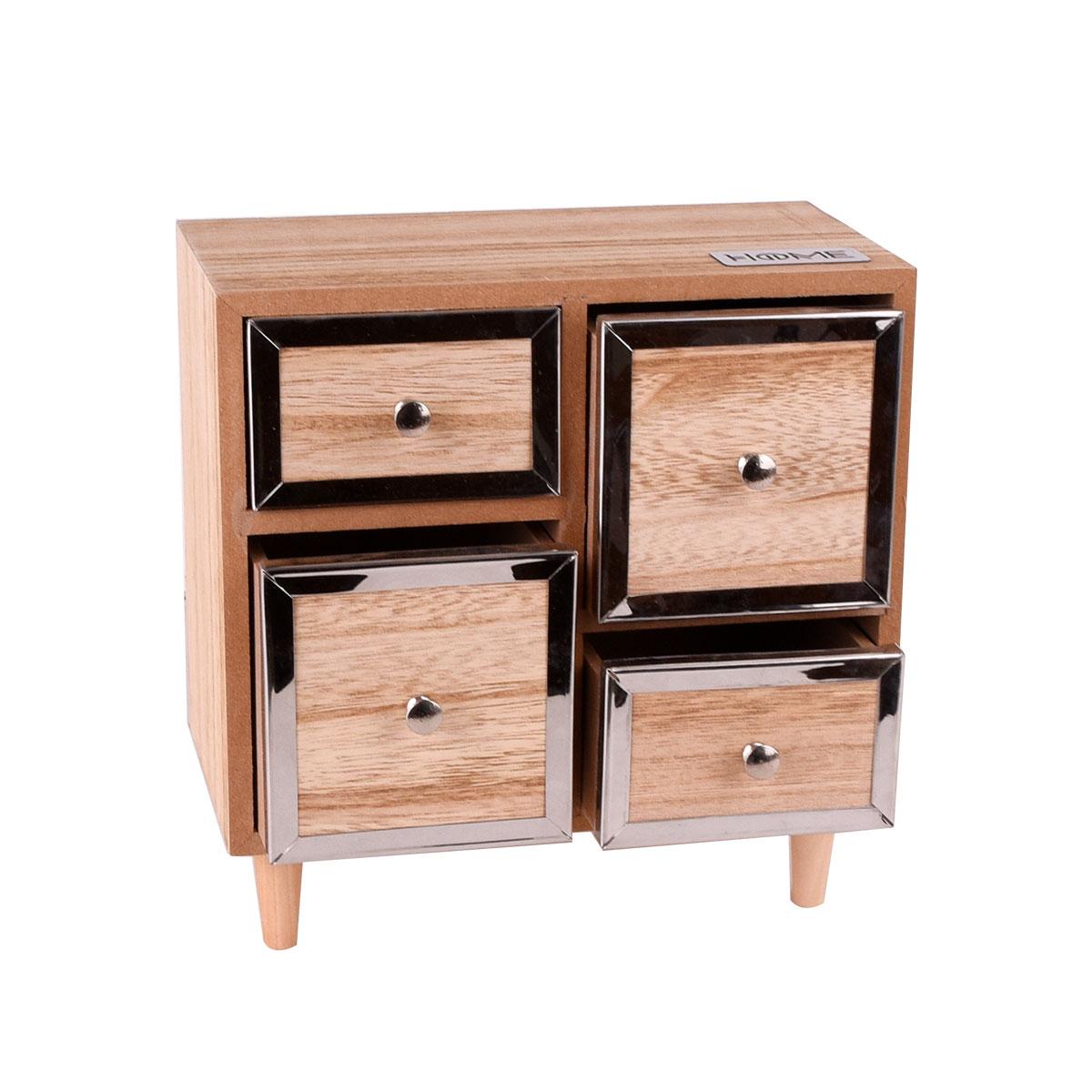 منظم مجوهرات واكسسوارات  خشبي - 4 ادراج - رقم 18016