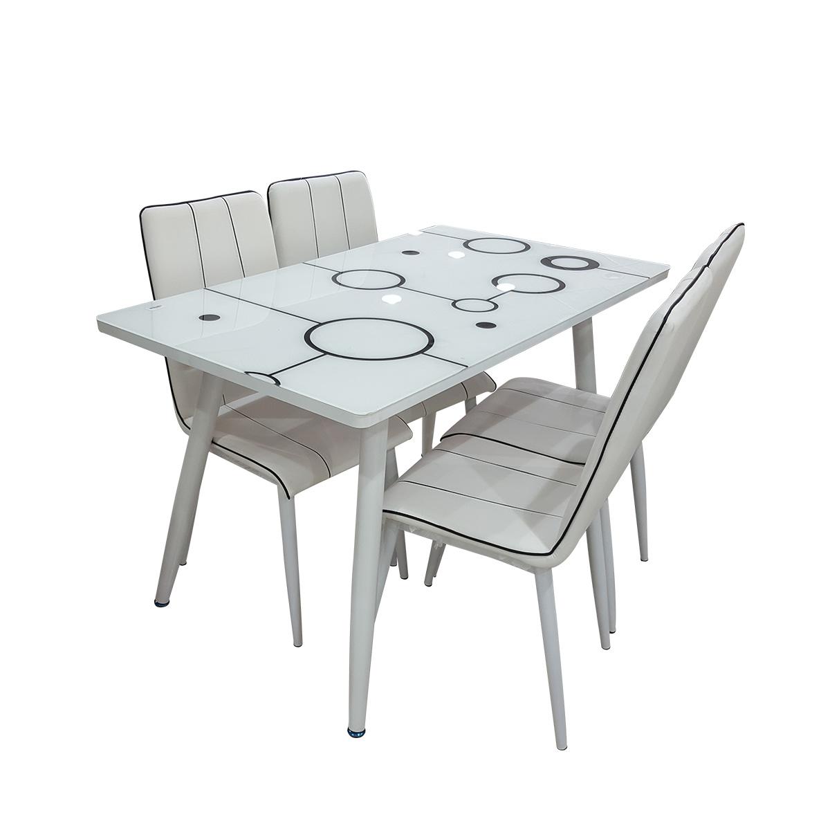 طاولة طعام زجاج مع 6 كرسي - لون ابيض - 3006/2