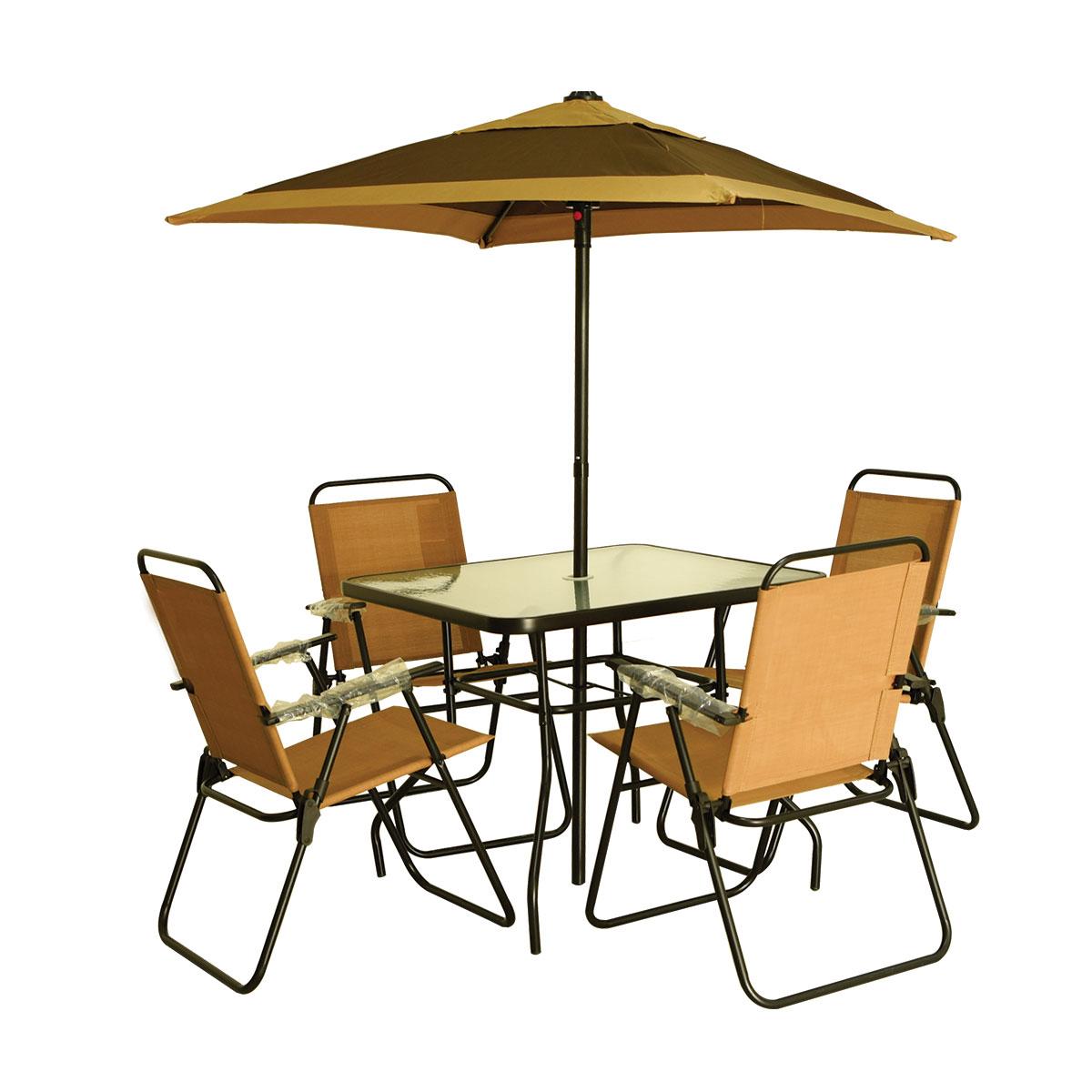 طقم طاولة جلسات خارجية مع 4 كرسي ومظله رقم 501270