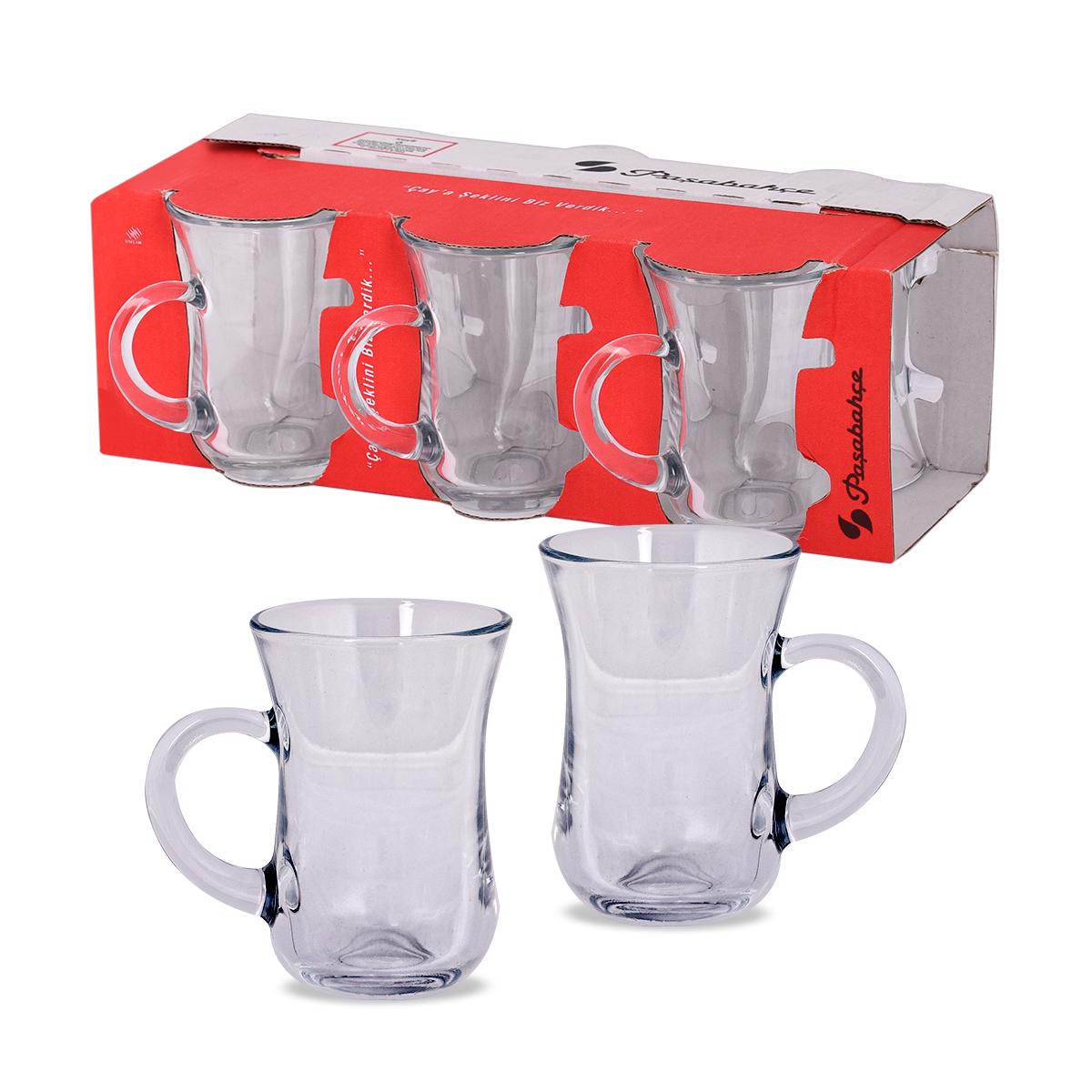 بيالات شاي زجاج كييف التركية - طقم 6 حبة - رقم 55411