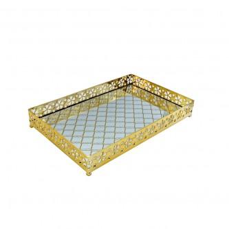 طفرية تقديم استيل مع مرايا مستطيل ذهبي - 997420