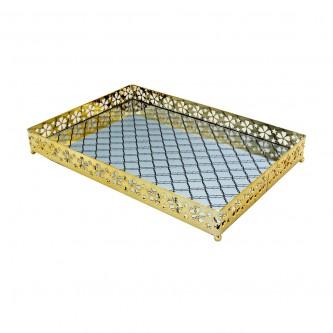 طفرية تقديم استيل مع مرايا مستطيل ذهبي - 997435