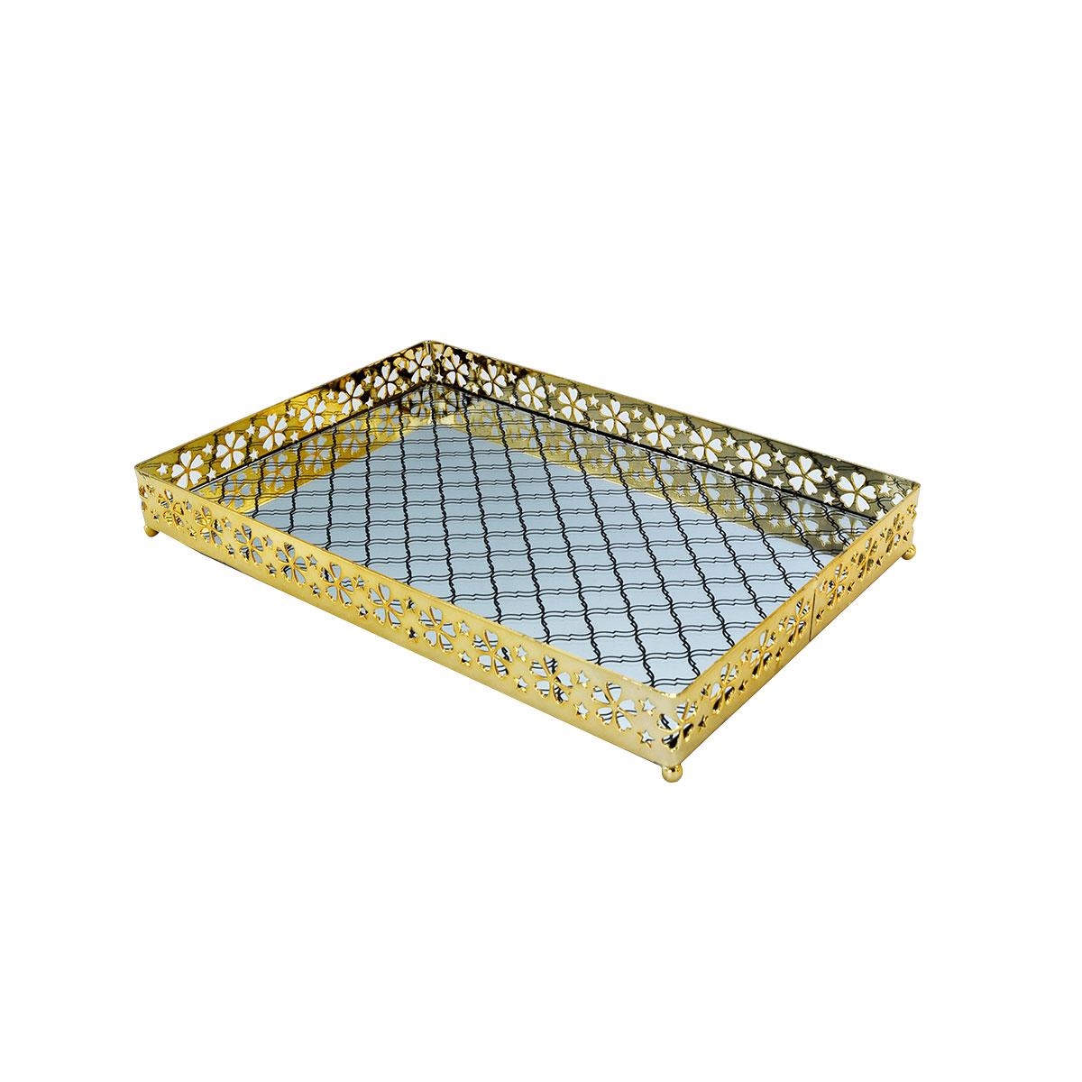 طفرية تقديم استيل مع مرايا مستطيل ذهبي - 997436