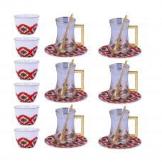 طقم فناجين قهوة وبيالات شاي مع الصحون - 24 قطعة -احمر