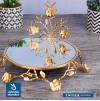طفرية تقديم استيل مع مرايا وقاعدة مزخرف - دائري ذهبي - 90009