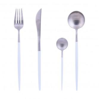 طقم 4 قطع ملاعق مع شوك وسكين استيل , فضي مع الوان متعددة , رقم YM-20642