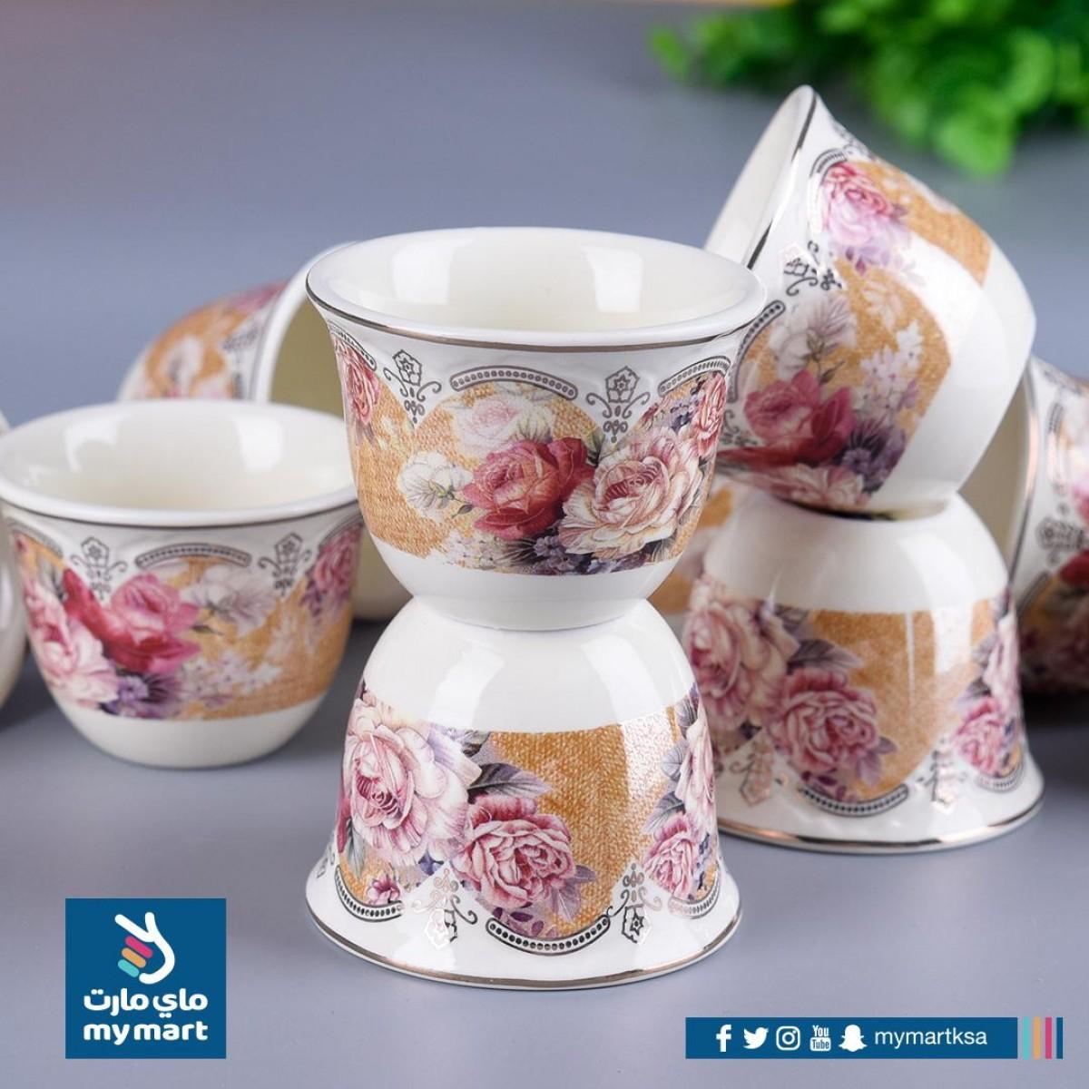 طقم فناجين قهوة عربي سيراميك , 12 فنجان , رقم KBC7461