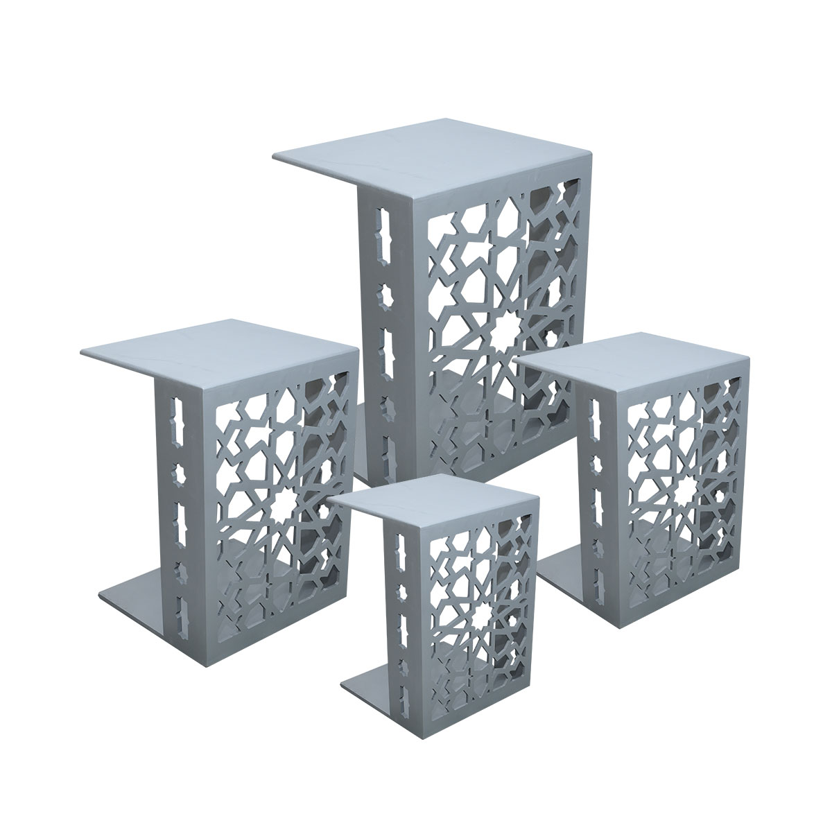 طاولة تقديم وخدمة خشب 4 قطع مزخرف متعددة الالوان
