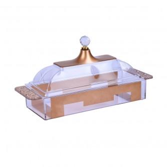 صحن تقديم الكيك والحلا اكريلك مقسم مع غطاء -YM-19560