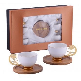 طقم فناجين قهوة سيراميك , سيفين ونخله , مع الصحون 12 قطعة ,  من ماي مارت ,  YM-20756