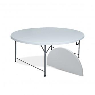 طاولة بلاستيك فايبر دائرية , قابلة للطي , لون ابيض , رقم BSL-ZY150