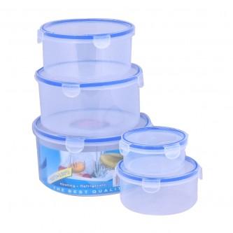 طقم حافظات طعام دائري مع غطاء - 5 قطعة