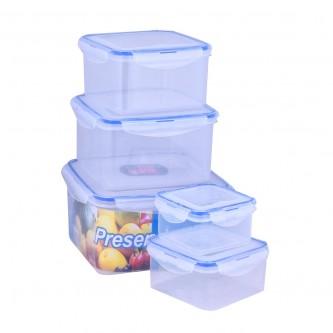 طقم حافظات طعام مربع مع غطاء - 5 قطعة - من ماي مارت