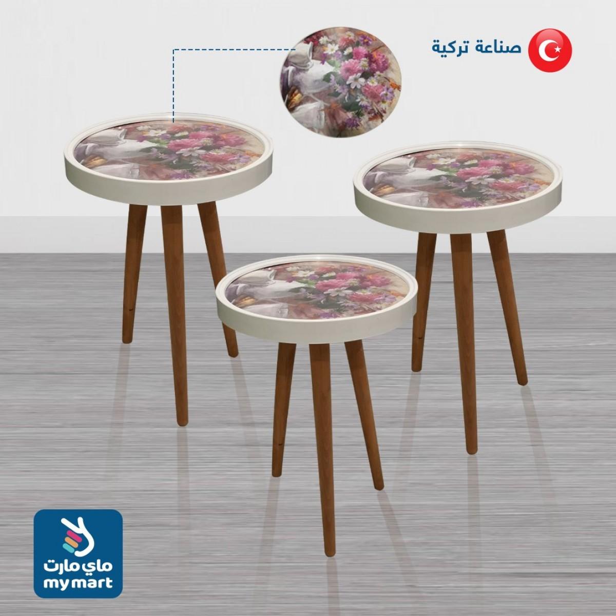 طاولة تقديم وخدمة خشب تركي 3 قطعة , R104