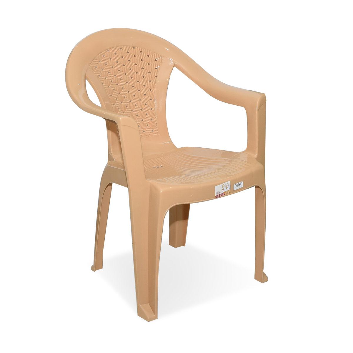 كرسي بلاستيك بذراعين لون بيج رقم FG3046