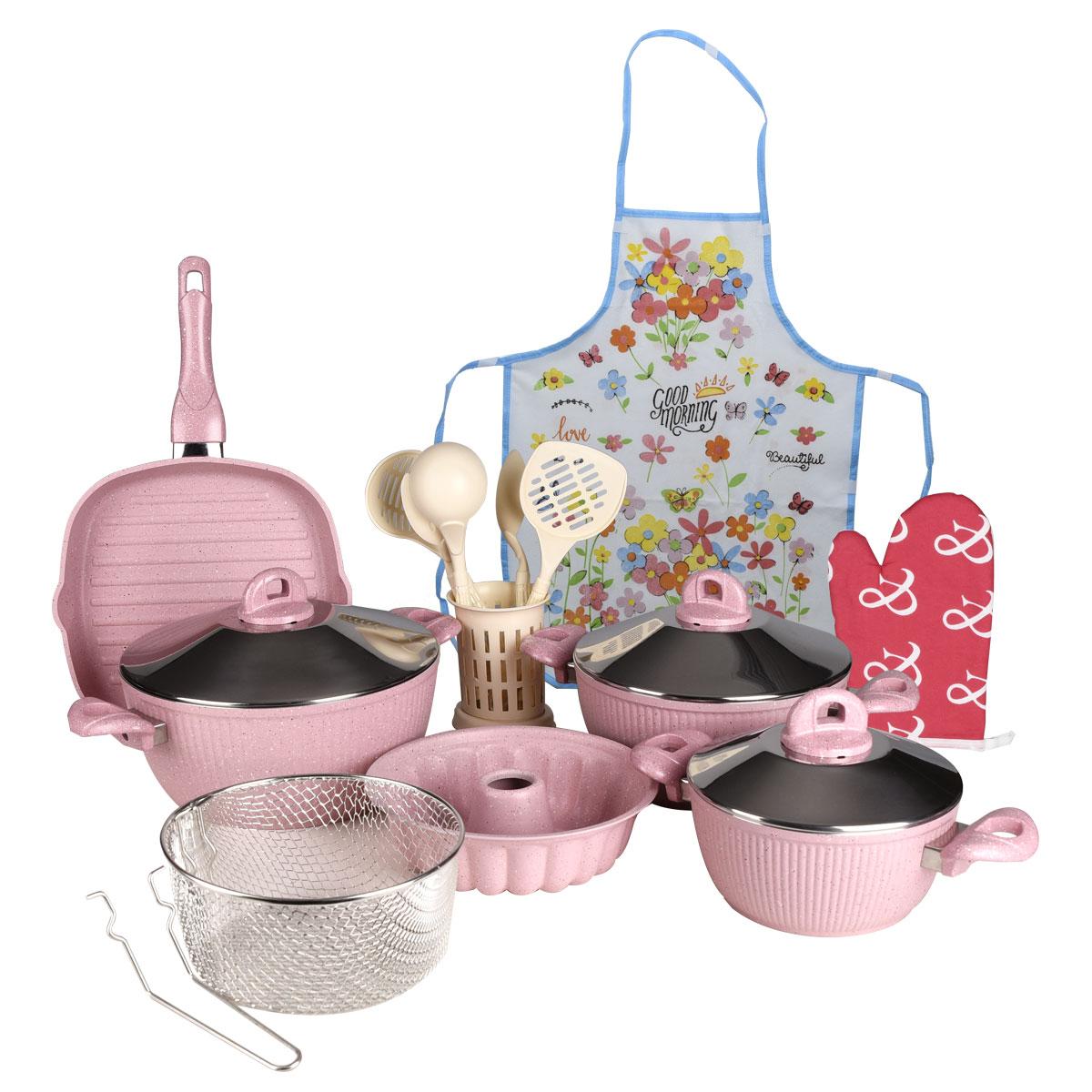 طقم قدور طبخ جرانيت تركي , 18 قطعه مع الاغطية لون وردي