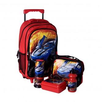 طقم حقيبة ظهر مدرسية بعجلات وملحقاتها 5*1 - رقم  4757-016