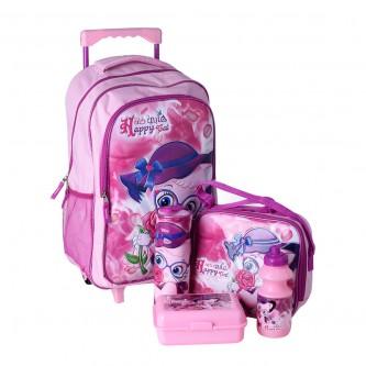طقم حقيبة ظهر مدرسية بعجلات وملحقاتها 5*1 - رقم  4757-019