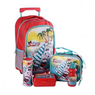 طقم حقيبة ظهر مدرسية بعجلات وملحقاتها 5*1 - رقم  4757-018