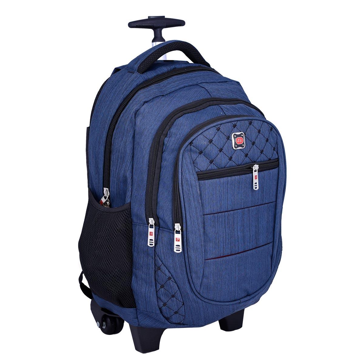 حقيبة ظهر مدرسية , بعجلات , الوان متعددة ,  موديل YM-21510