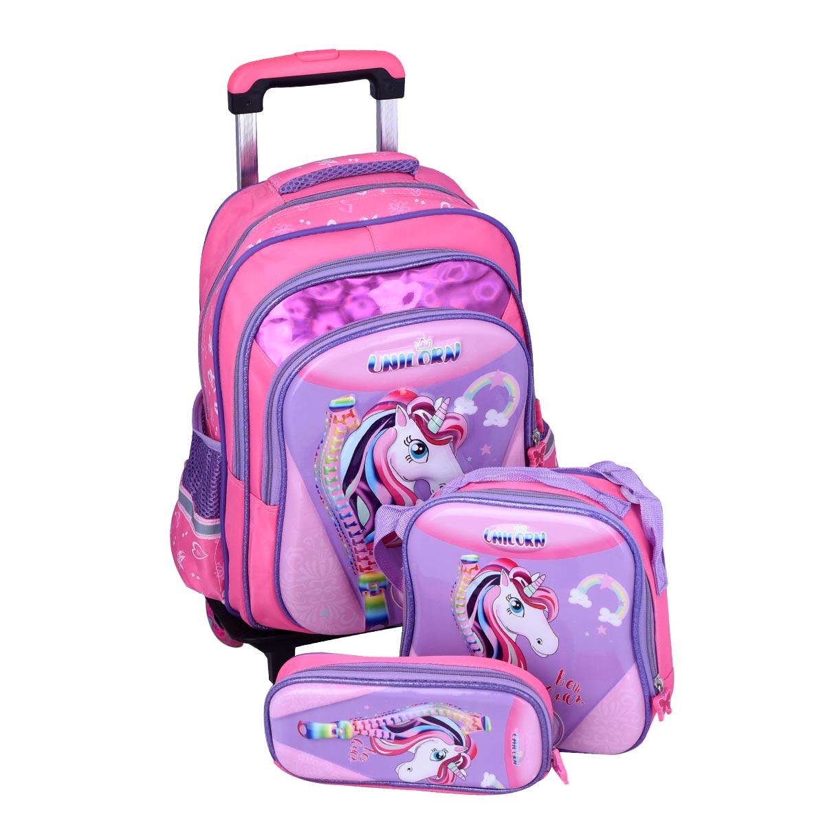حقيبة ظهر مدرسية , بعجلات وملحقاتها , 1 * 3  موديل YM-21504
