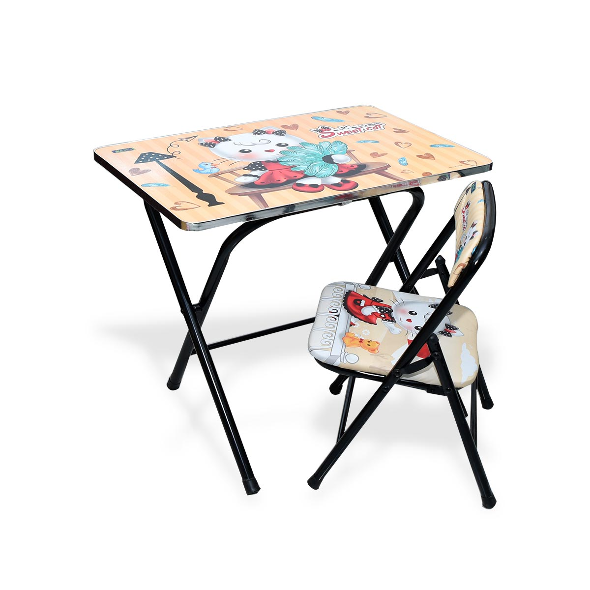 طاولة اطفال مدرسية  خشب بقواعد من الحديد + كرسي  4038-041