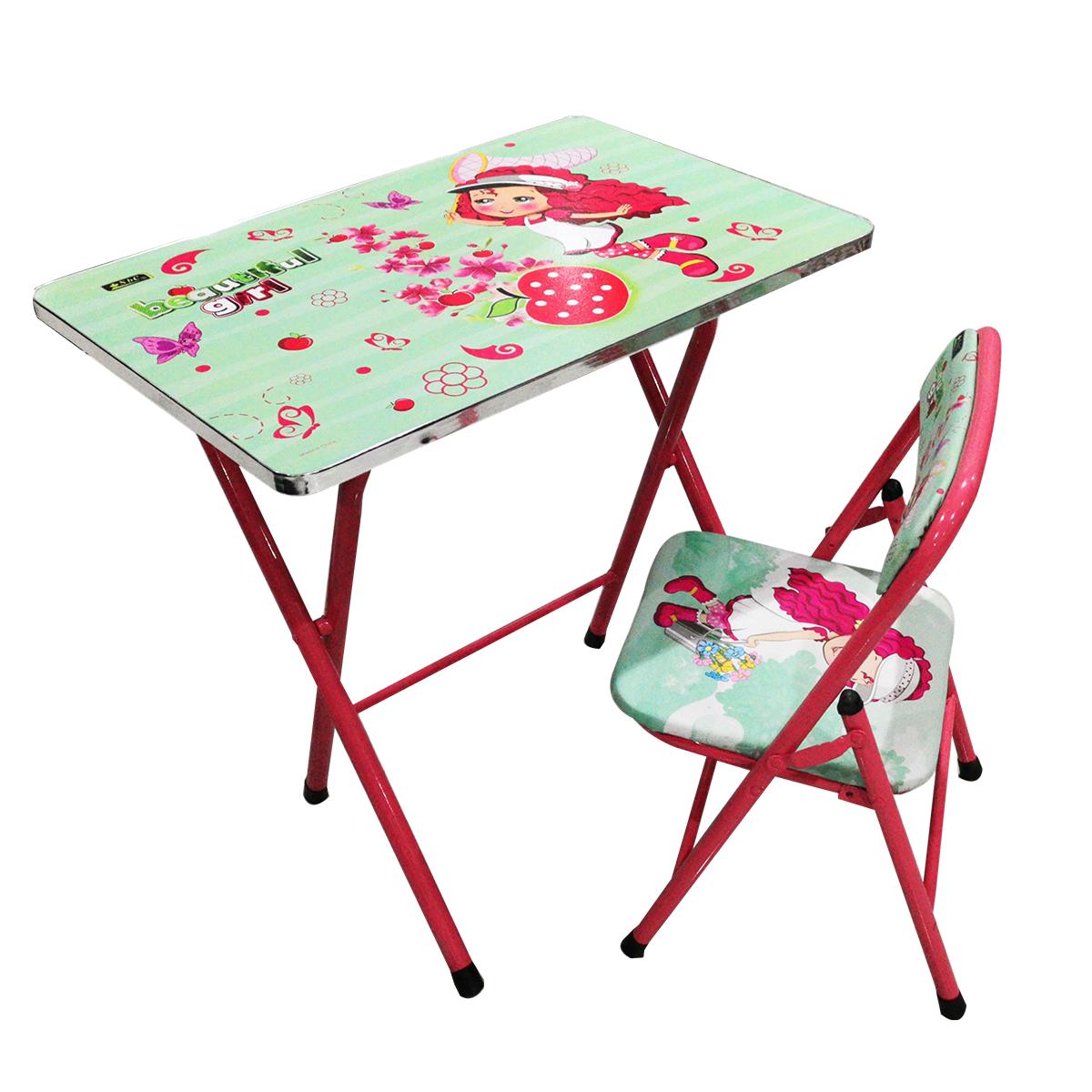 طاولة اطفال مدرسية  خشب بقواعد من الحديد + كرسي   4038-039