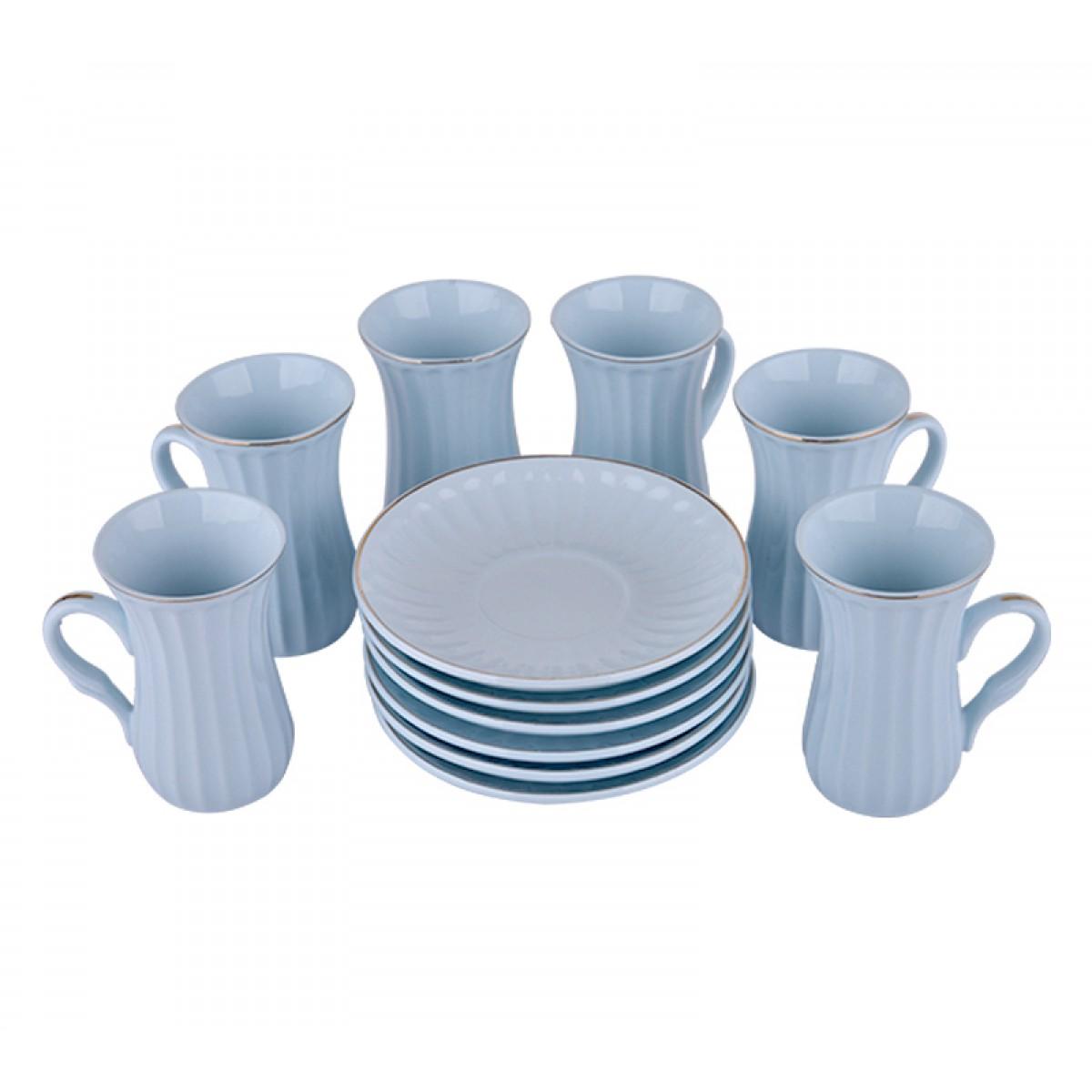 طقم بيالات شاي سيراميك مع الصحون 12 قطعة YM-16252