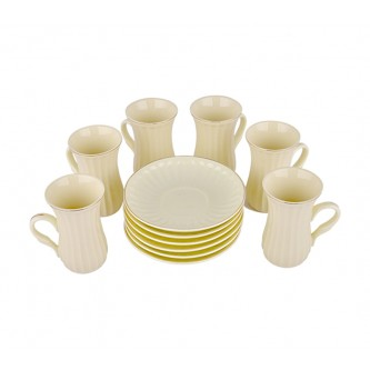 طقم بيالات شاي سيراميك مع الصحون 12 قطعة ,YM-16249