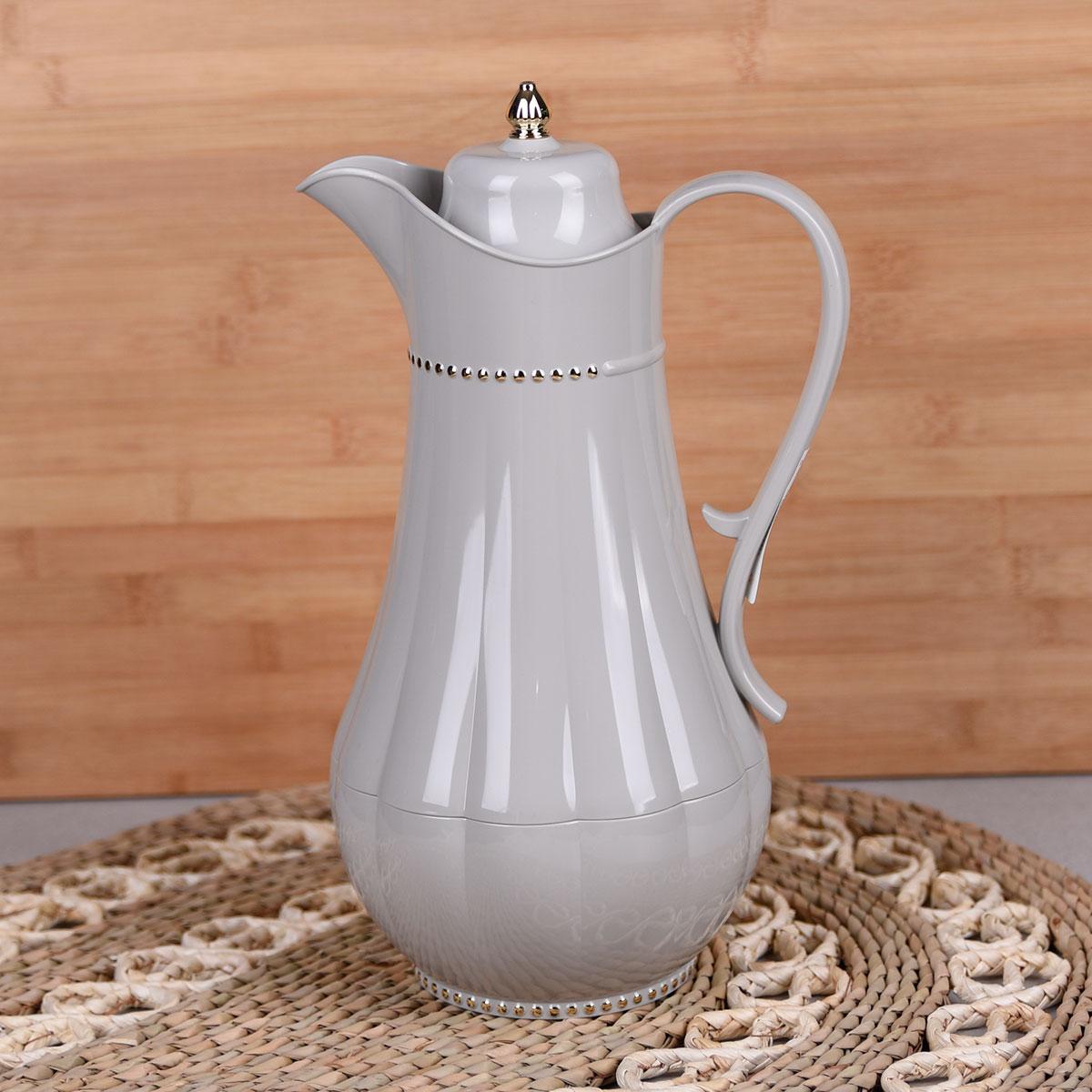 ترمس شاي وقهوة , فلورا , مقاس 0.75 لتر , لون رمادي فاتح