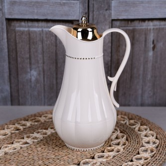 ترمس شاي وقهوة , فلورا , مقاس 0.75 لتر , لون لؤلؤي مذهب