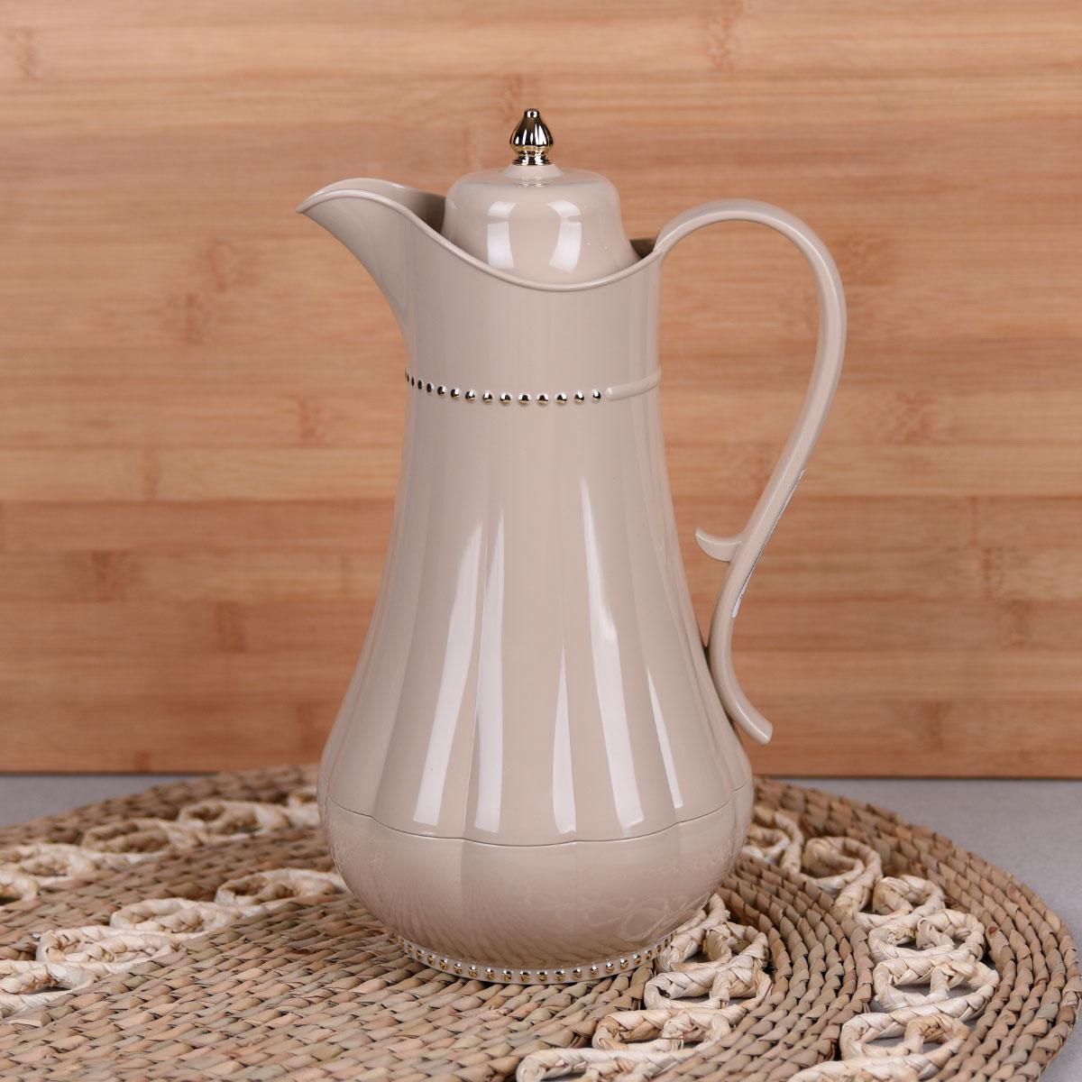 ترمس شاي وقهوة , فلورا , مقاس 0.75 لتر , لون بني فاتح