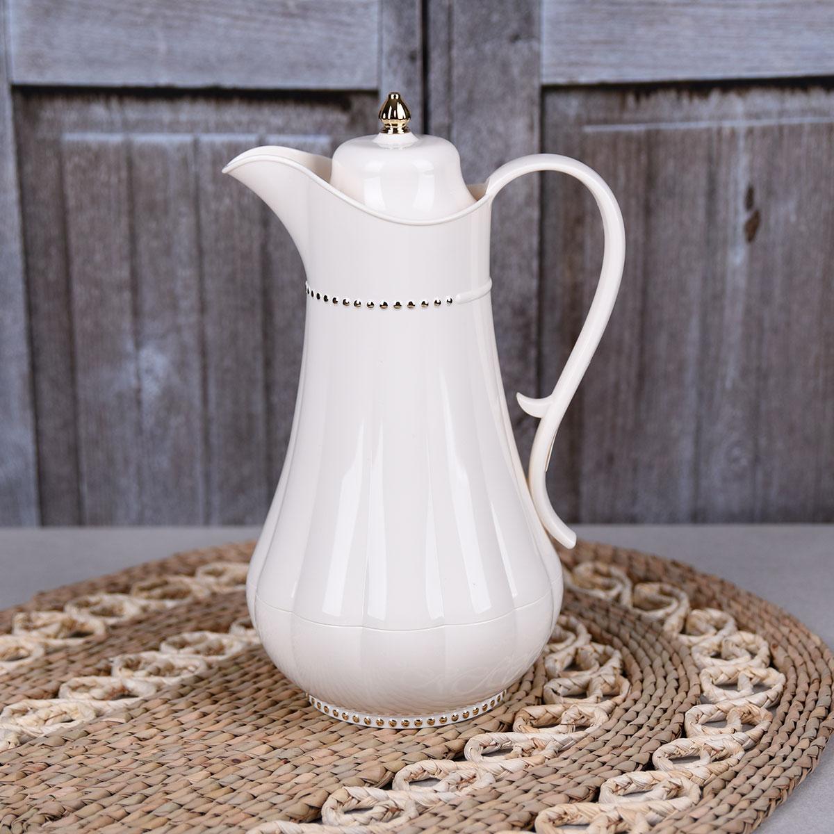 ترمس شاي وقهوة , فلورا , مقاس 0.75 لتر , لون لؤلؤي