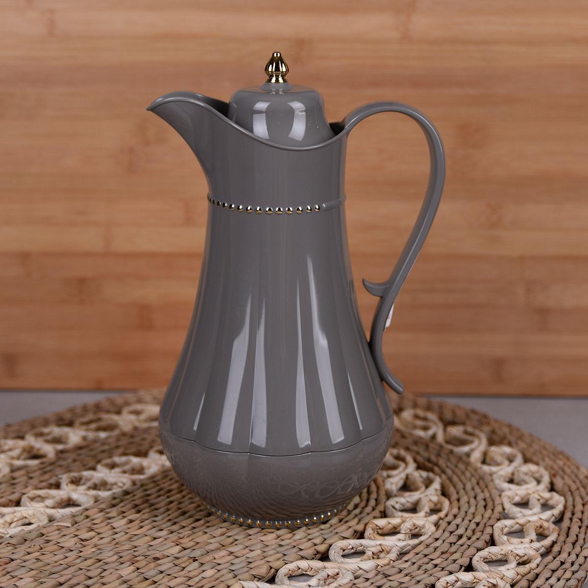 ترمس شاي وقهوة , فلورا , مقاس 1.0لتر , لون رمادي غامق