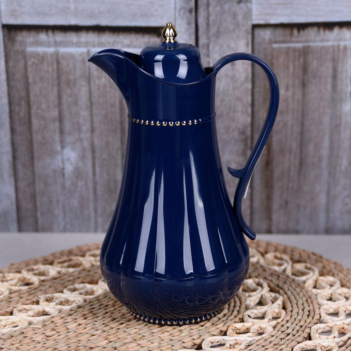 ترمس شاي وقهوة , فلورا , مقاس 0.75 لتر , لون ازرق